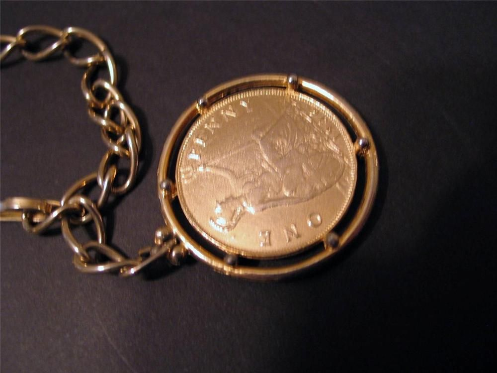 Replica British 1936 One Penny Coin Pendant Chain Necklace George V Goldplated Coin Pendant Jewelry Lover Mod Jewelry