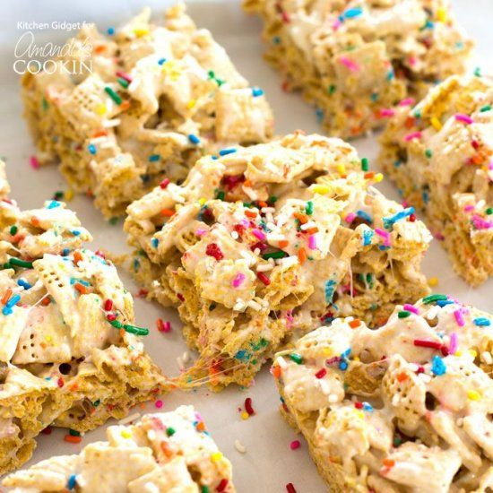 These funfetti marshmallow cereal bars are made with crispy cereal these funfetti marshmallow cereal bars are made with crispy cereal marshmallows and rainbow sprinkles ccuart Choice Image
