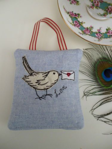 Handmade Lavender Hanging Bag Love Birds design embroidery linen gift by Artist | eBay