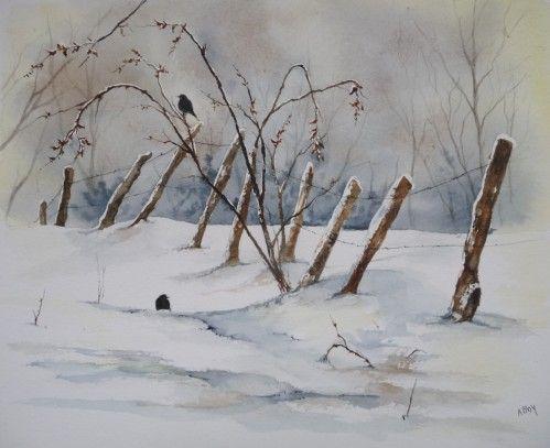 Paysages à l'aquarelle | Paysage aquarelle, Paysage hiver ...