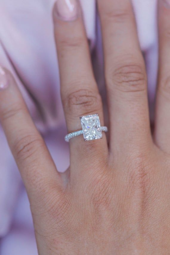 ROWAN 3.55 Carat (10x7.5mm) Elongated Crushed Ice Radiant Moissanite Engagement Ring with Invisible Halo in 14K White Gold -