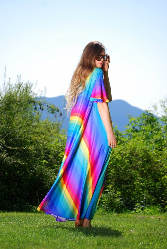 70s RAINBOW Dress, Rainbow Striped Maxi Dress Caftan BEACH Lounge ...