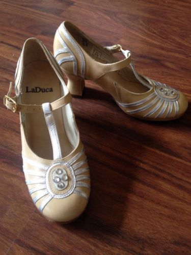 LaDuca Shoes Custom Rockette Character in Tan & Silver with Swarovski  Crystals [SIZE 35.5 |
