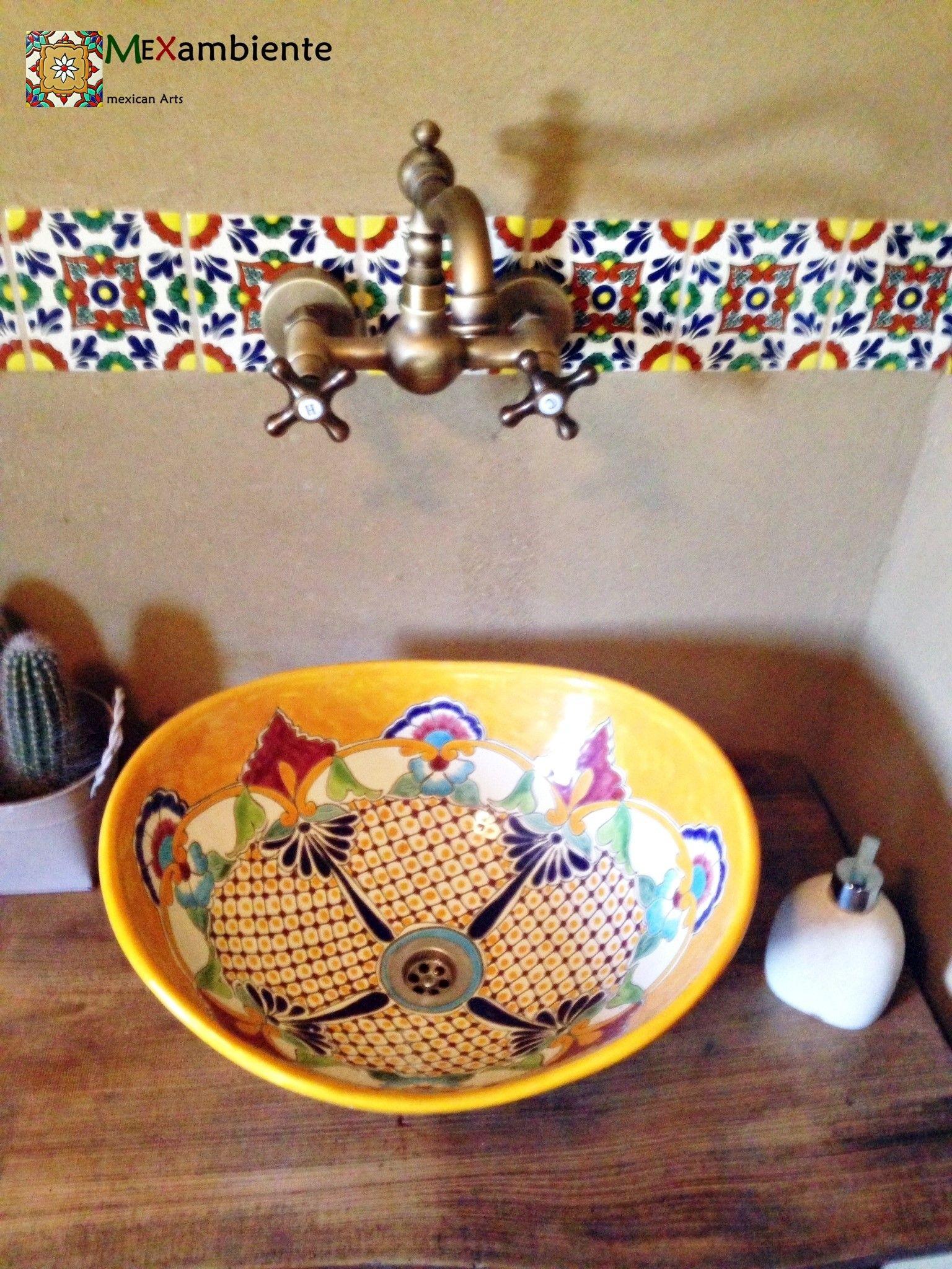 Ethno Style Waschbecken U0026 Fliesen Aus Mexiko Von Mexambiente Fün Einen  Originellen Rustikalen Look Im Badezimmer