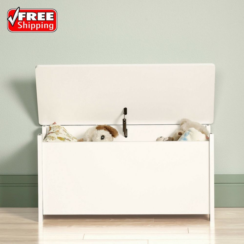 Kids Toy Box Storage Chest Bedroom Furniture Organizer Wood Bench Soft  White | Home U0026 Garden