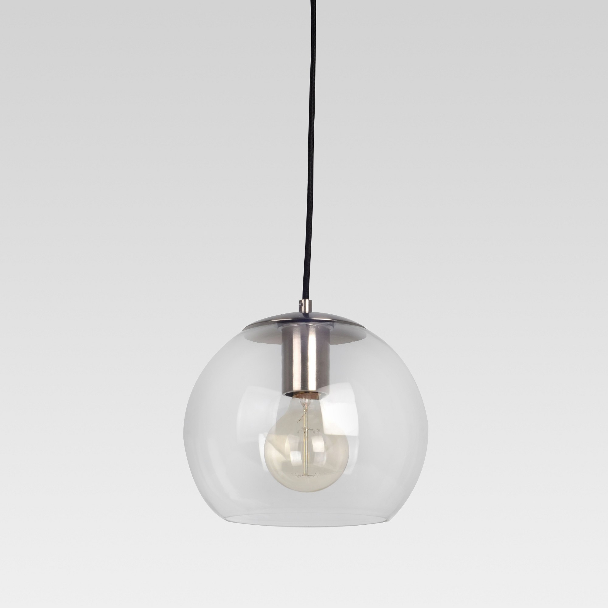 Madrot glass globe pendant includes cfl bulb silver project