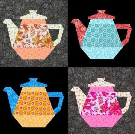 Tea Pot Quilt Block Pattern - Paper Pieced | Nähen und Bilder
