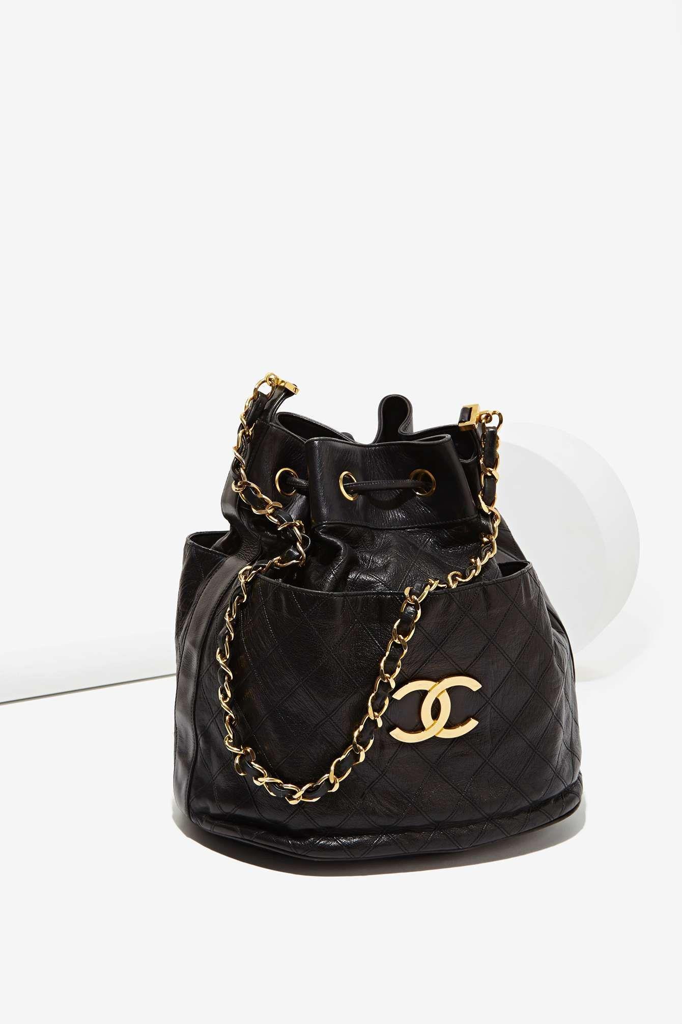 Vintage Chanel Quilted Bucket Bag Vintage Chanel Bag Women Handbags Shoulder Bag Women