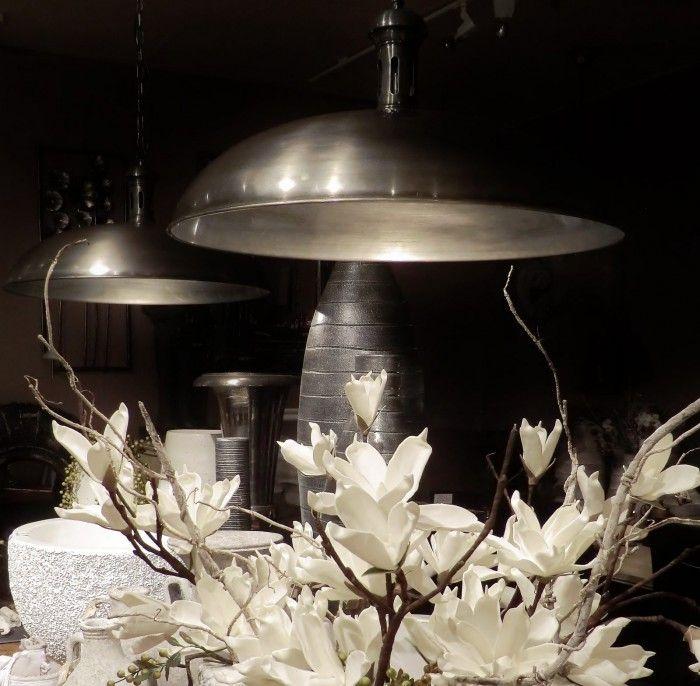 Hanglamp metaal uitvoering antiek tin doorsnede 60 cm