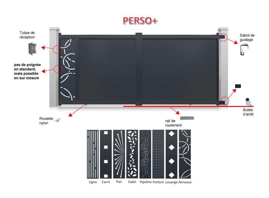 Portail Aluminium Coulissant personnalisable pas cher - Portail