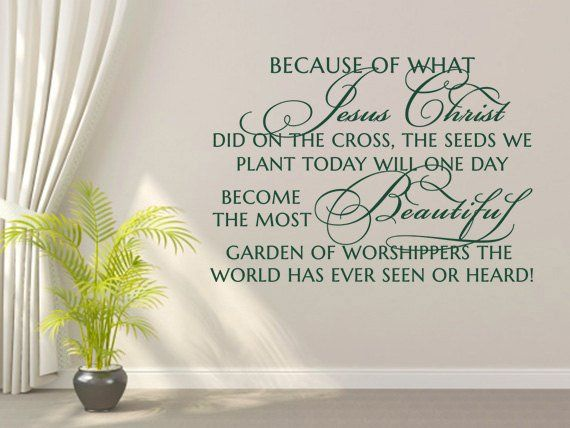 christian wall decal. because of what jesus christ did - code 102 in