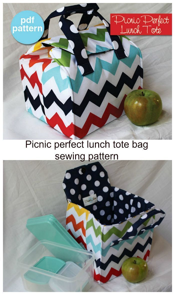 Picnic Perfect Lunch Tote - PDF Sewing Pattern - Bento Box Carrier - #Bento #Box #Carrier #Lunch #Pattern #PDF #Perfect #Picnic #Sewing #Tote #wallet #bagsewingpatterns