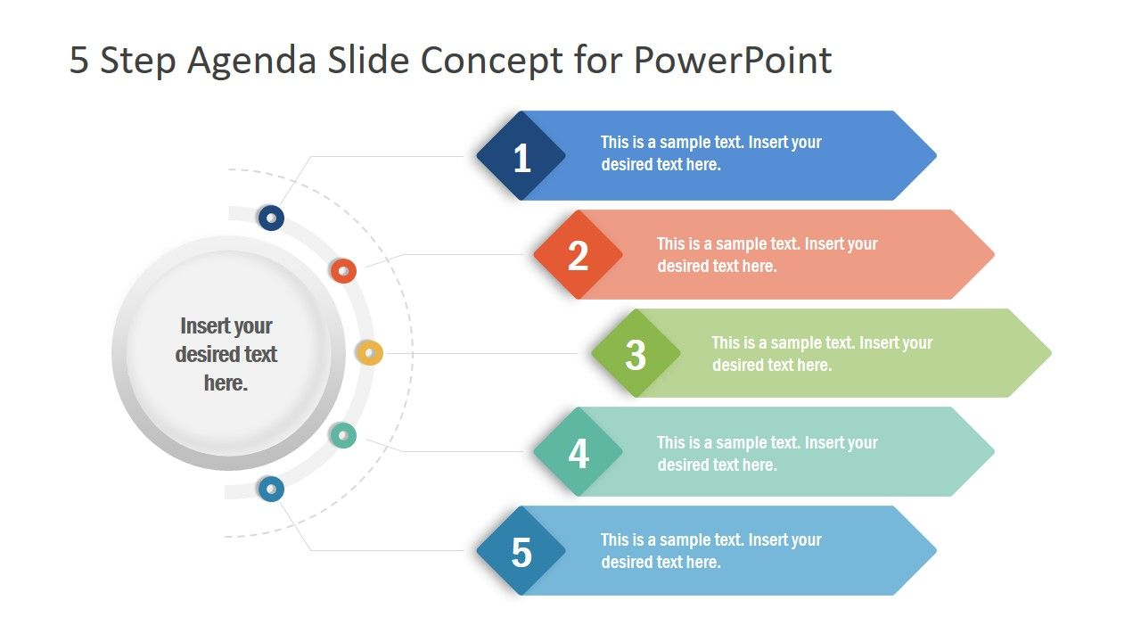 5 Items Ribbon Agenda Slide Template For Powerpoint Powerpoint