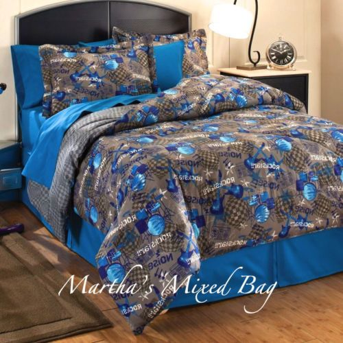 Full Size Boys Blue Gray Guitars Drums Music Tv Movies Bedding