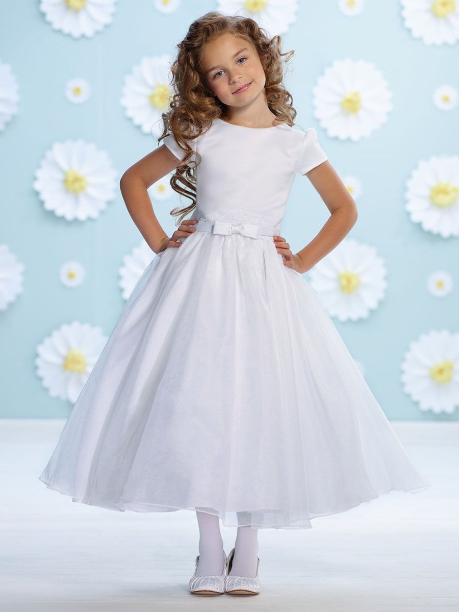 ae08045a52e15 Joan Calabrese White Organza Bow Belt Flower Girl Dress