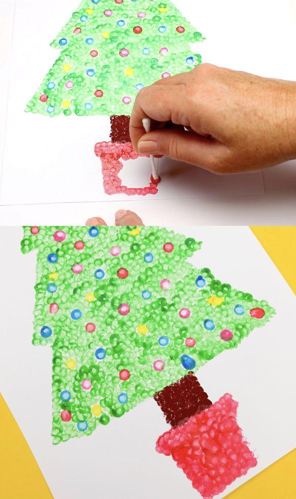 Christmas Tree Dot Painting Christmas Thema Kerst Pinterest