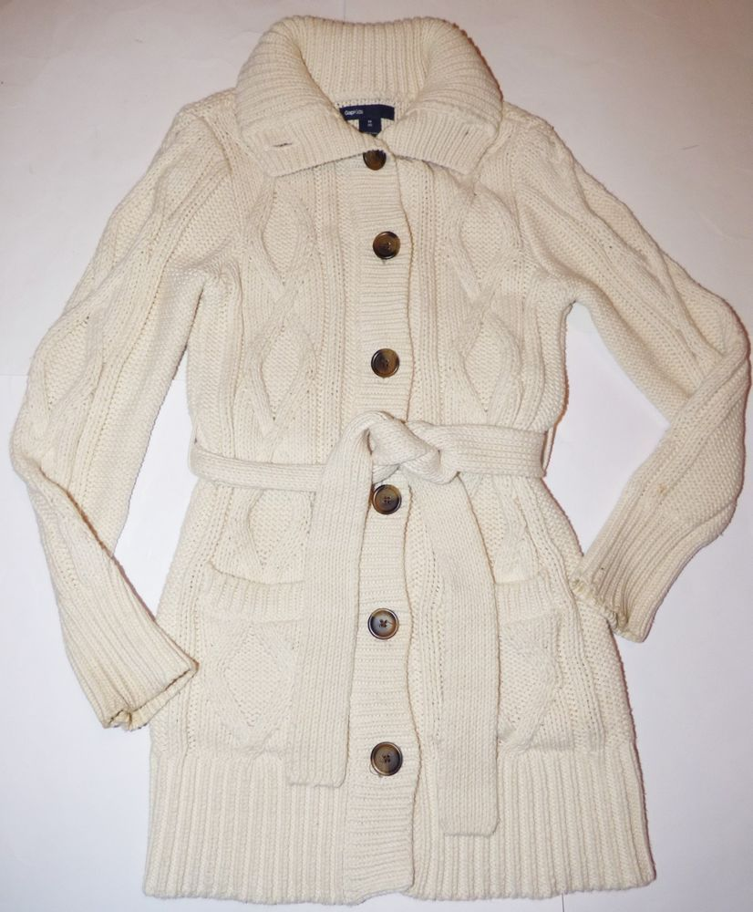 ba4490fb60b Gap Kids Cream Cable Knit Belted Belt Button Up Cardigan Sweater ...