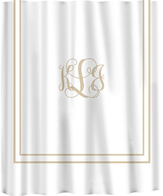 Custom Shower Curtain Simplicity In White Or Cream With Monogram Your Colors Available Standard Ex Long Size