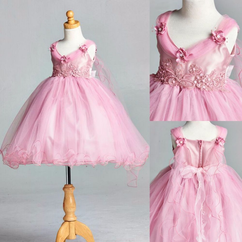 Dusty Rose Wing Wedding Birthday Recital Pageant Easter Flower Girl