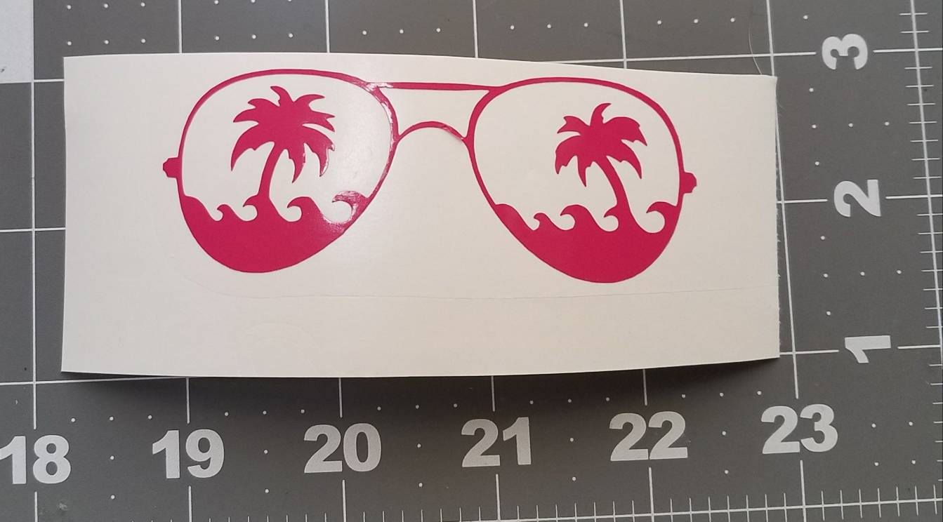 Sunglasses Palm Trees Decal For Tumbler Vinyl Decal For Yeti - Custom vinyl decals for tumblers