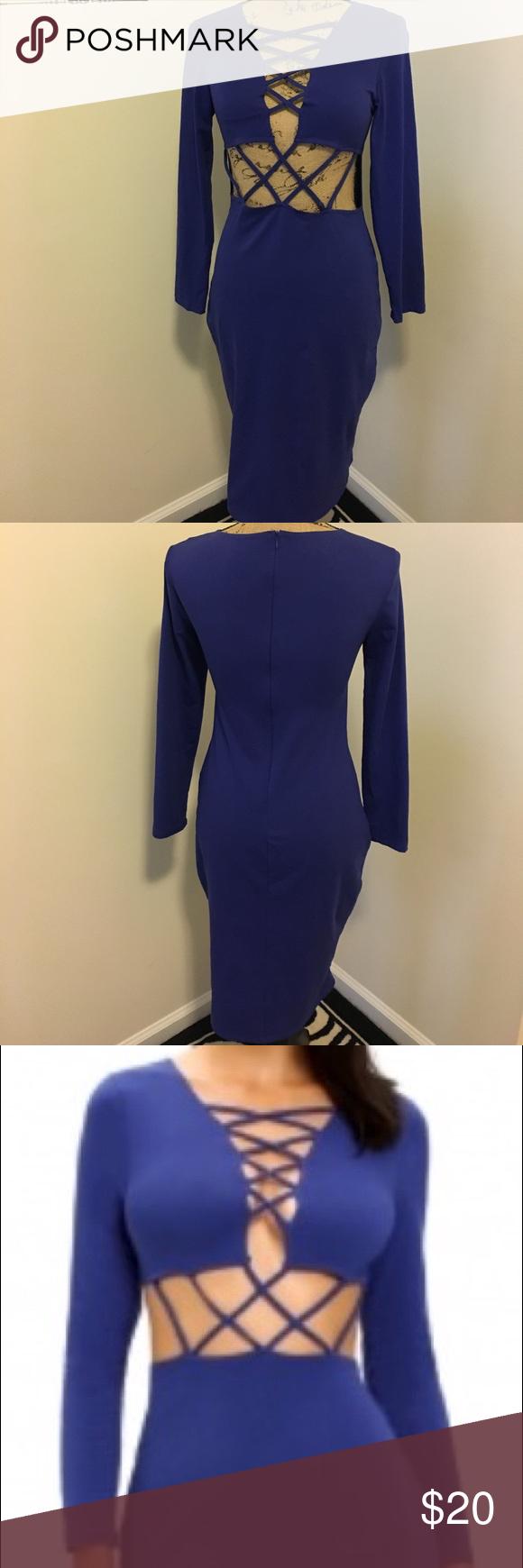 Nwot royal crisscross dress royal blue crisscross cut out dress