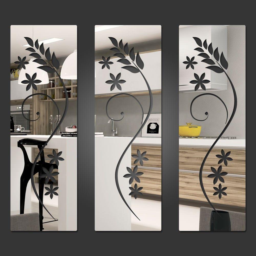 Espelho Decorativo Quadrados Florais Com Imagens Espelhos