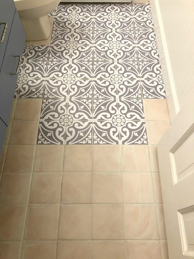 Updating The Bathroom Floor With Tile Stickers My Family Thyme