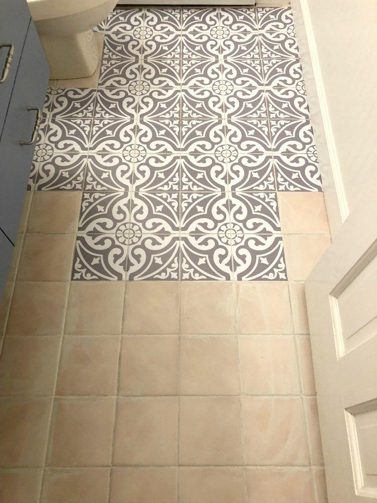Updating The Bathroom Floor With Tile Stickers My Family Thyme Bathroom Flooring Painting Tile Floors Bathroom Floor Tiles