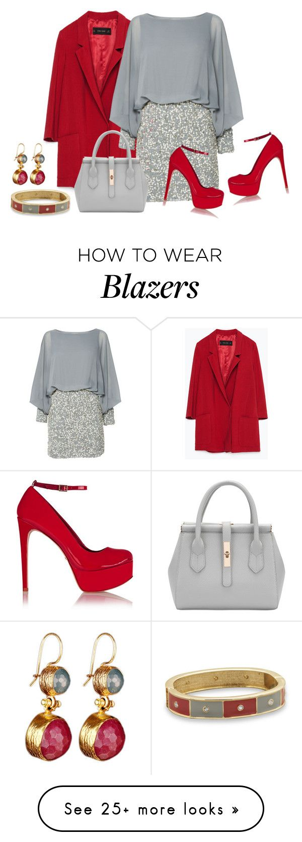 """""""Red And Grey"""" by sjlew on Polyvore featuring Zara, Lace & Beads, Schutz, BillyTheTree, women's clothing, women, female, woman, misses and juniors"""