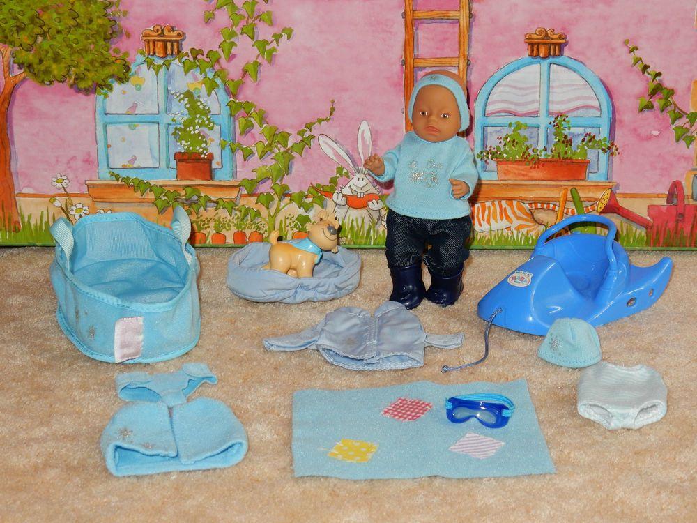 Zapf My Mini Baby Born Puppe Junge Schlitten Tasche