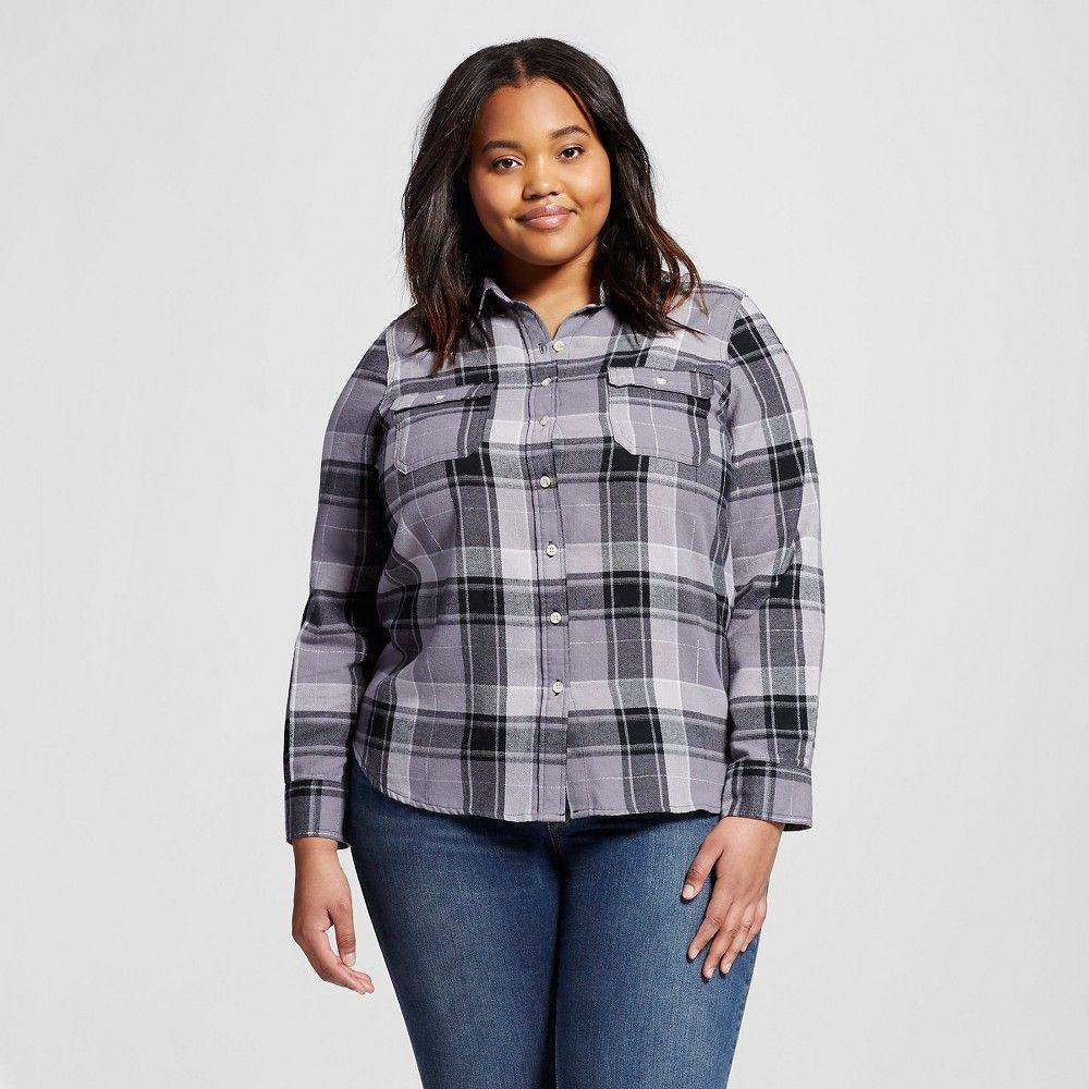 Flannel shirt plus size  Womenus Plus Size Plaid Flannel Shirt  Grey  Mossimo Supply Co