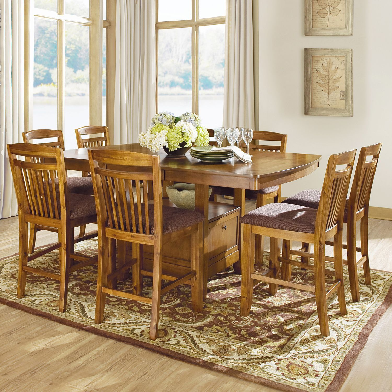 Octavia Warm Oak Counter Height Storage Base 9 Piece Dining Set