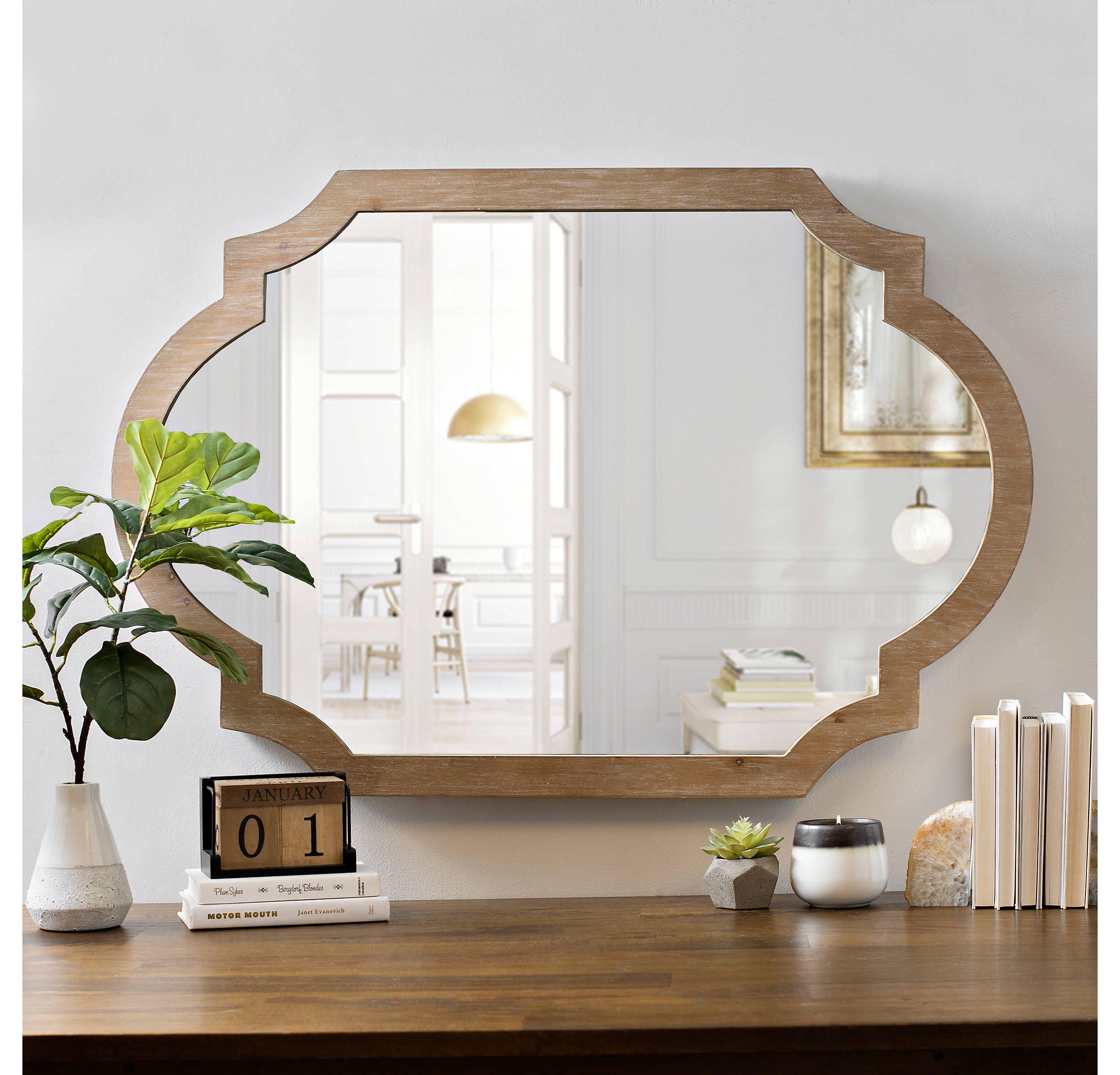 Natural Wood Scalloped Mirror Scalloped Mirror Wood Mirror