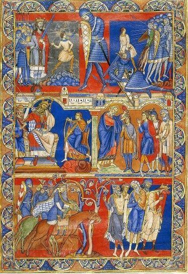"""Hoja Morgan (Inglaterra, finales siglo XII). Forma parte de la Biblia Winchester, un proyecto en el que intervino este autor, conocido como el """"maestro de la Hoja Morgan"""", que revolucionó el estilo hasta entonces aplicado, con imágenes de gran naturalismo y dinamismo, inspiradas en el arte bizantino."""