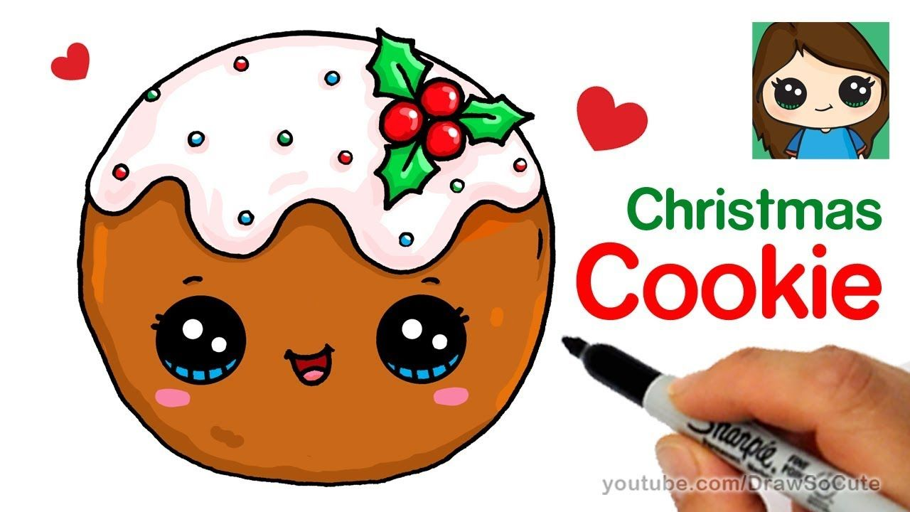 How To Draw A Cookie For Christmas Easy Cute Drawings Christmas Drawing Cute Food Drawings