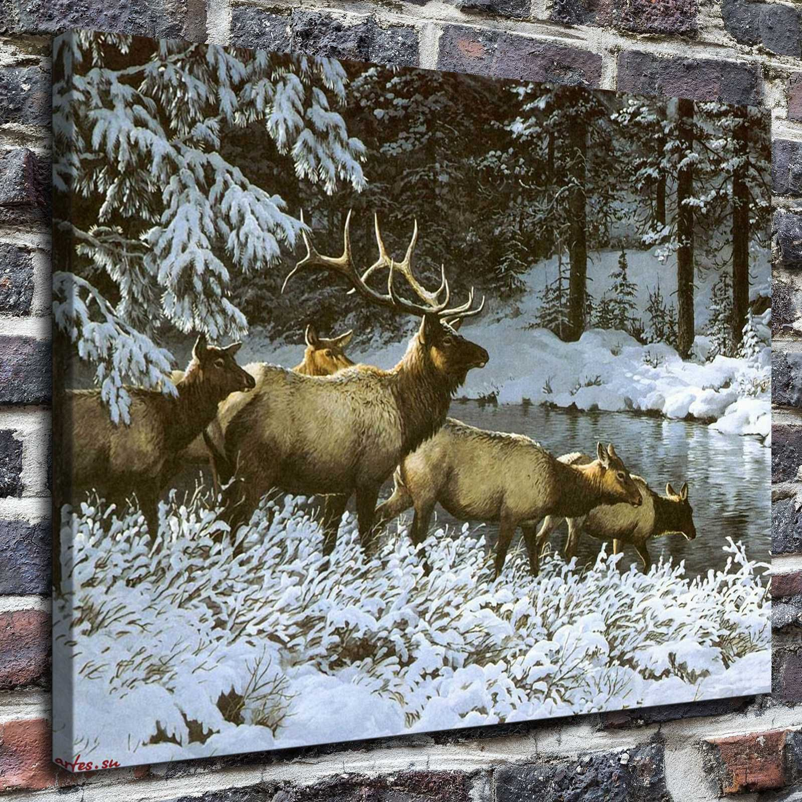 199 deer in winter paintings hd print on canvas home