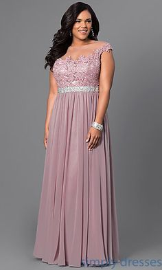 Taupe Long Formal Plus Size Dress with Lace Bodice