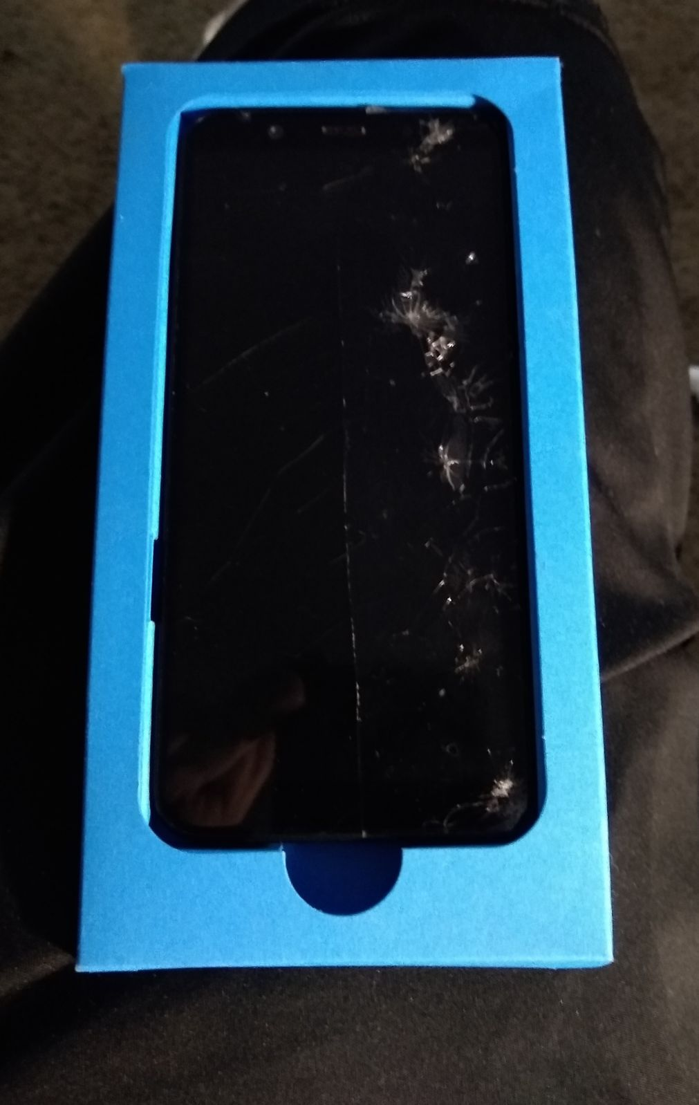Samsung A6 with a cracked screen small side cracked but it