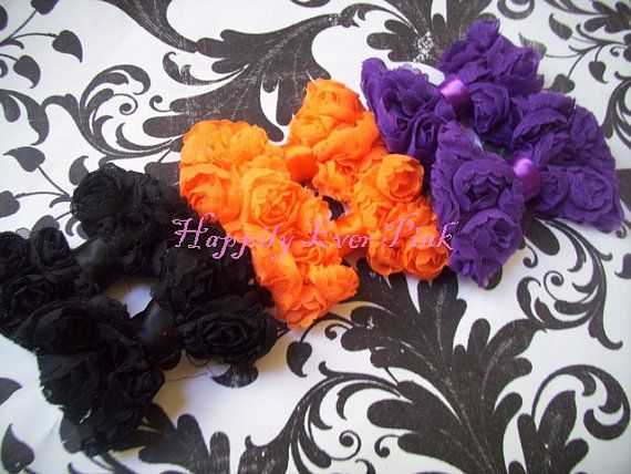 Halloween Sample Pack Mini Chiffon Rose Bows by happilyeverpink, $5.99