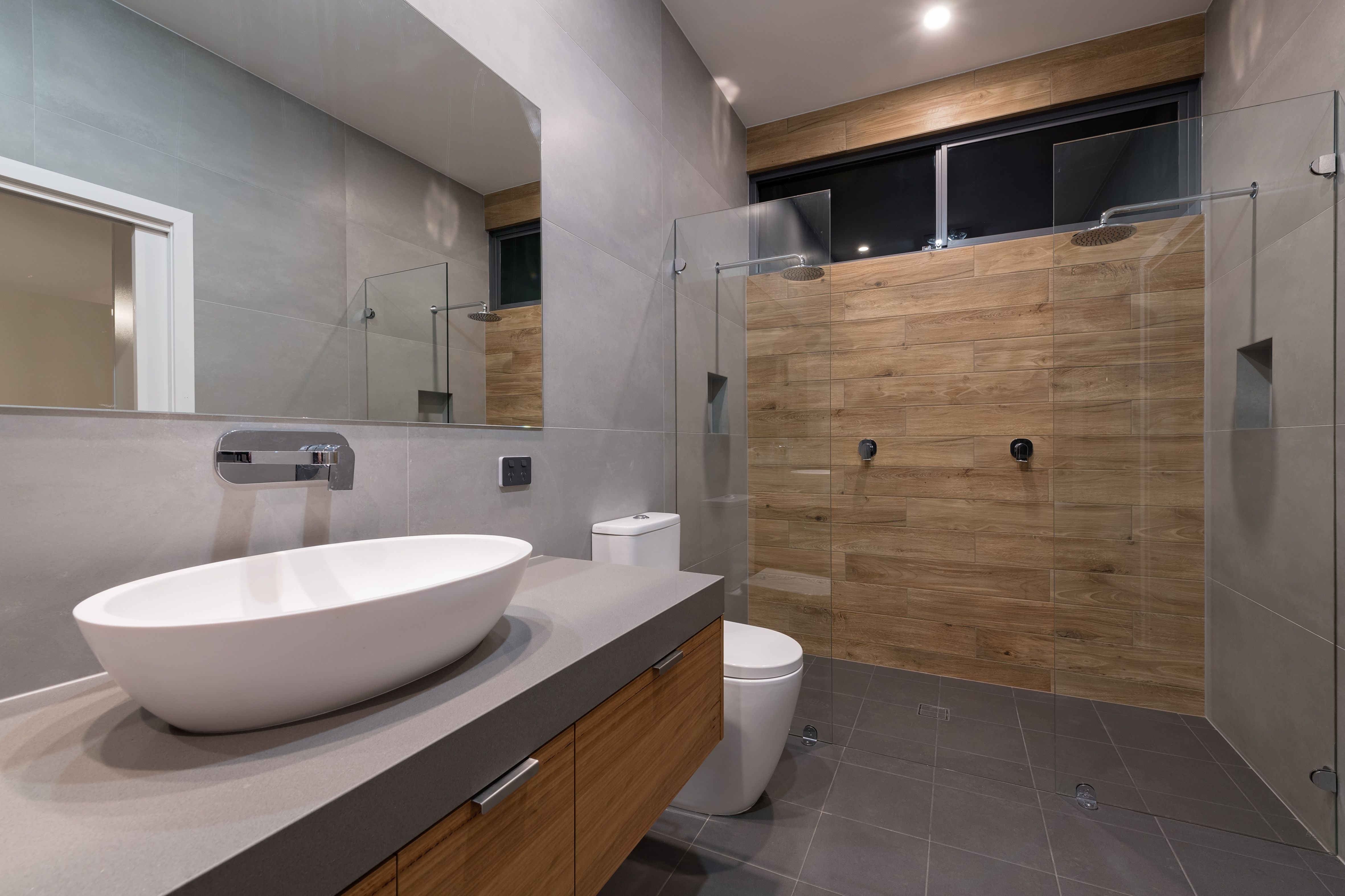 Luxury Ensuite Double Shower Timber Tile Feature Wall Concrete Look Vanity Bench Oval Vanity Frameless Glass Screens Slate Tiles Super Size Grey Wall Til