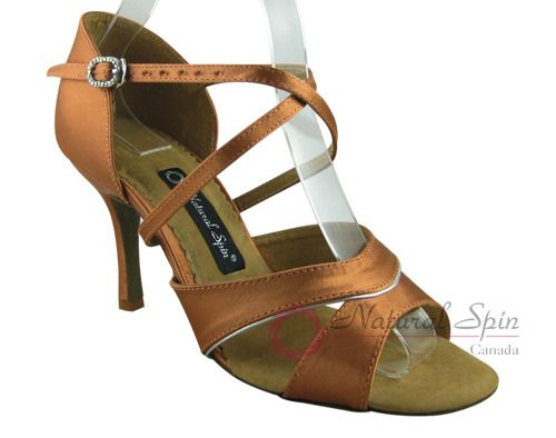 Natural Spin Signature Latin Shoes(Open Toe):  H1158-02_DrTanS