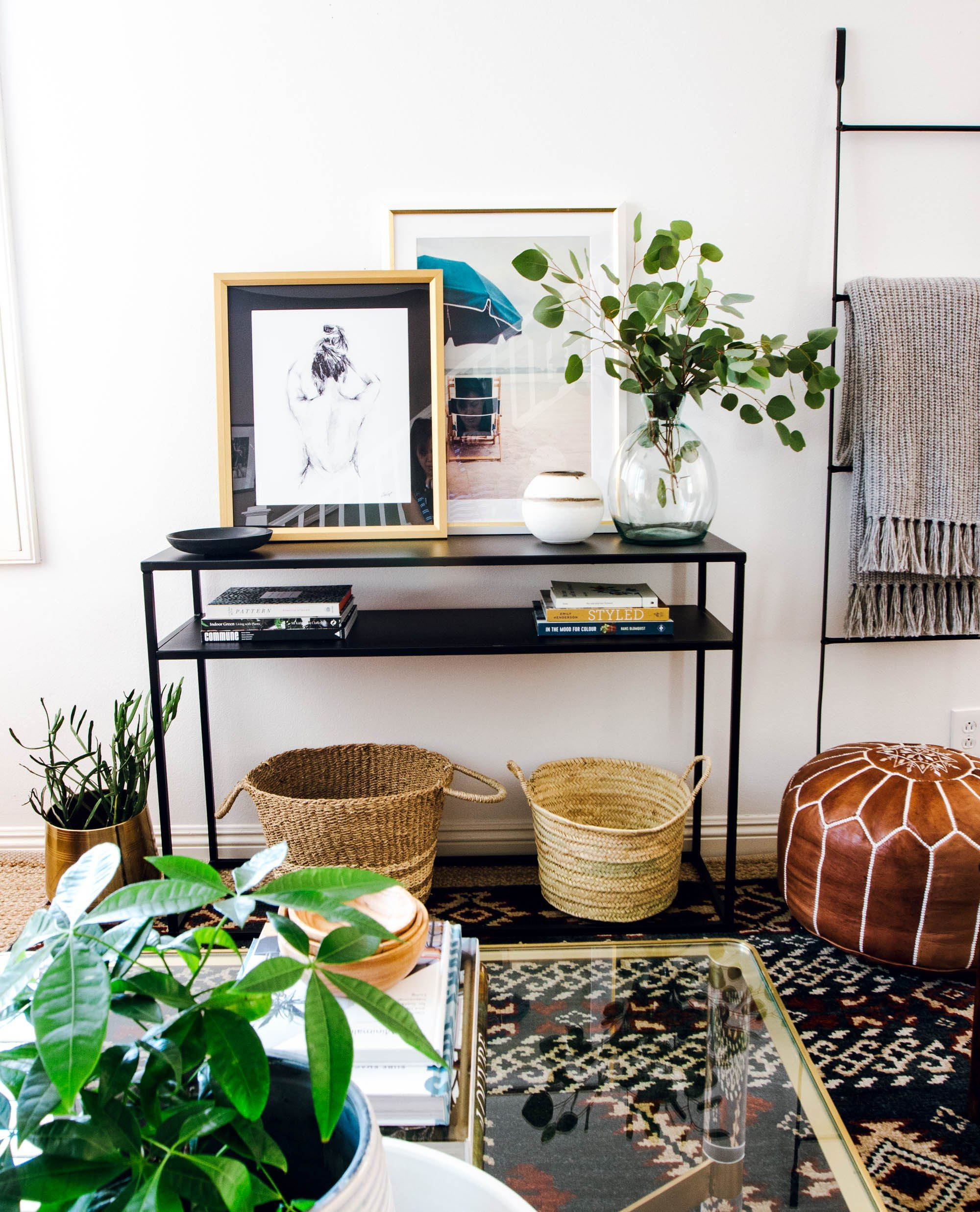 Scandinavian eclectic style living room this living room features vintage rugs curated art and tons of soft textures for a comfortable and casual living