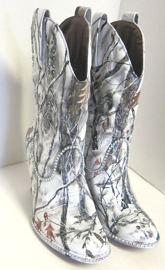 Snow White Camouflage Women S Western Bridal Boots Hand Painted Camo Wedding And Westerns