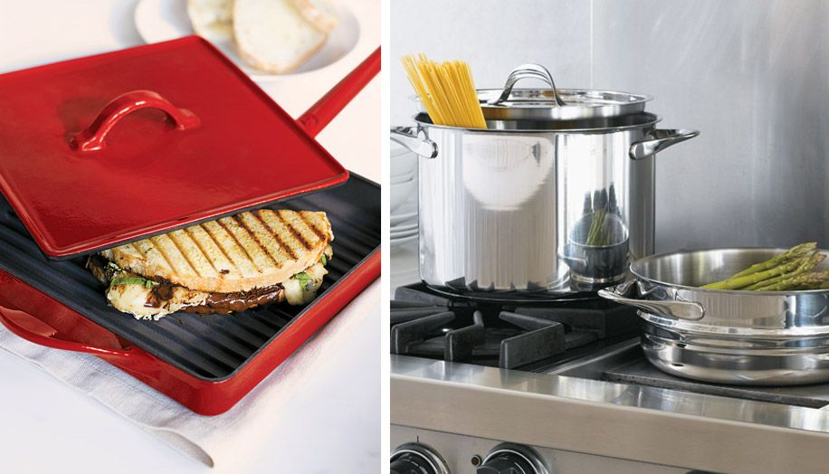 Dual image featuring a Panini maker and stock pan