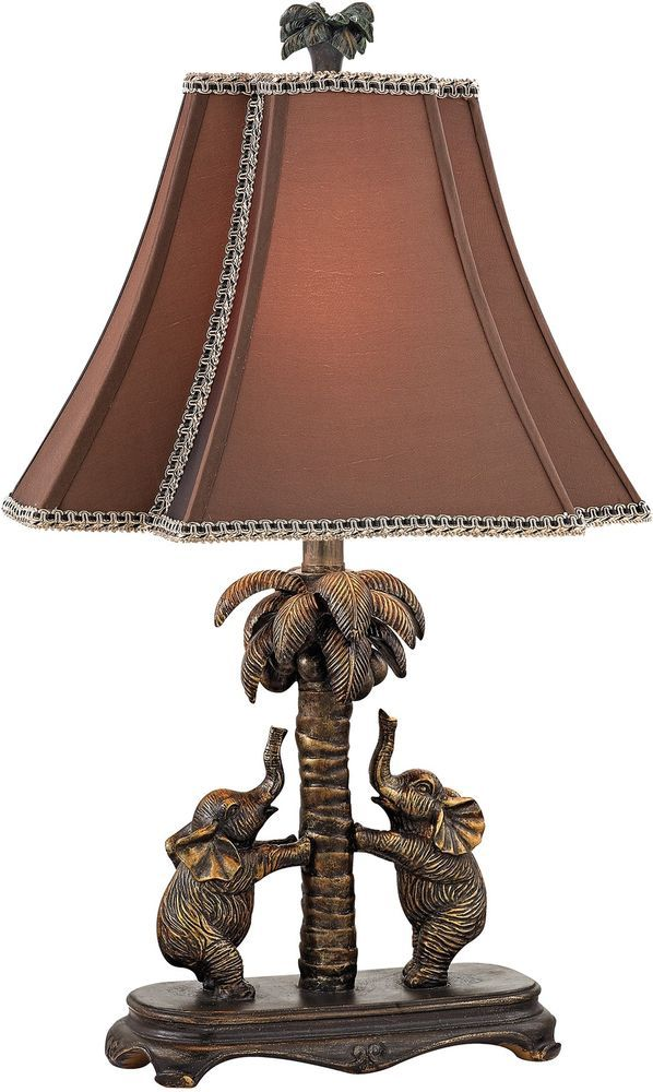 Traditional Accent Lamp Elephants Palm Tree 1 Light Bronze Finish Resin Fabric Dimondlighting Traditional T Elephant Table Lamp Bronze Table Lamp Table Lamp