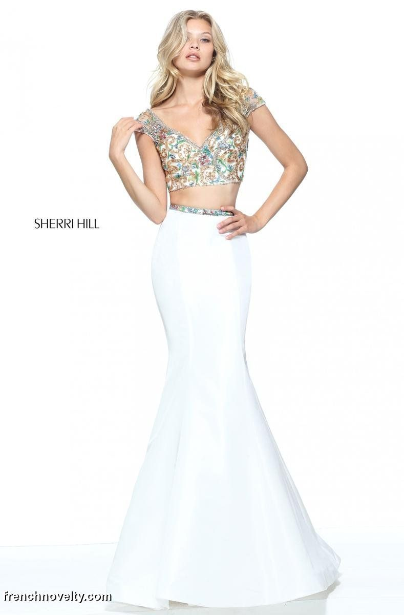 Sherri hill is a piece prom dress with a cap sleeved beaded