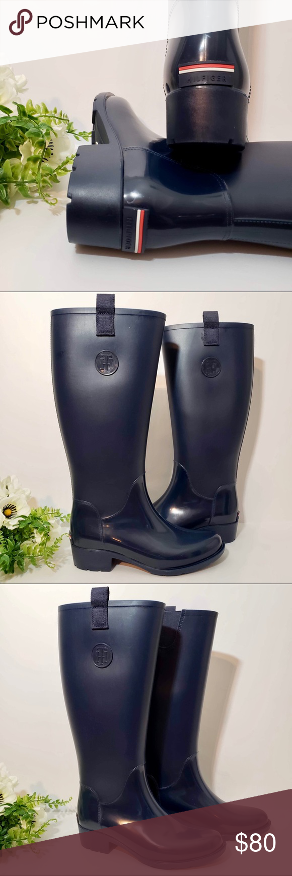 Tommy Hilfiger Rain Boots Tommy Hilfiger rain boots. Cloudy skies are a  good enough excuse for you to slip on this pair. Our mixed material long  boot ... ca5afd2829