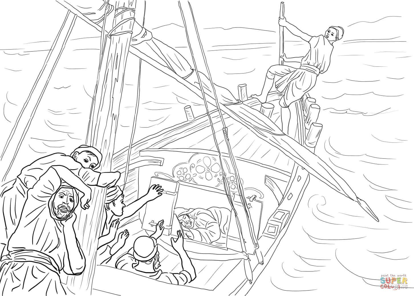Image result for jesus sleeping in the boat coloring page
