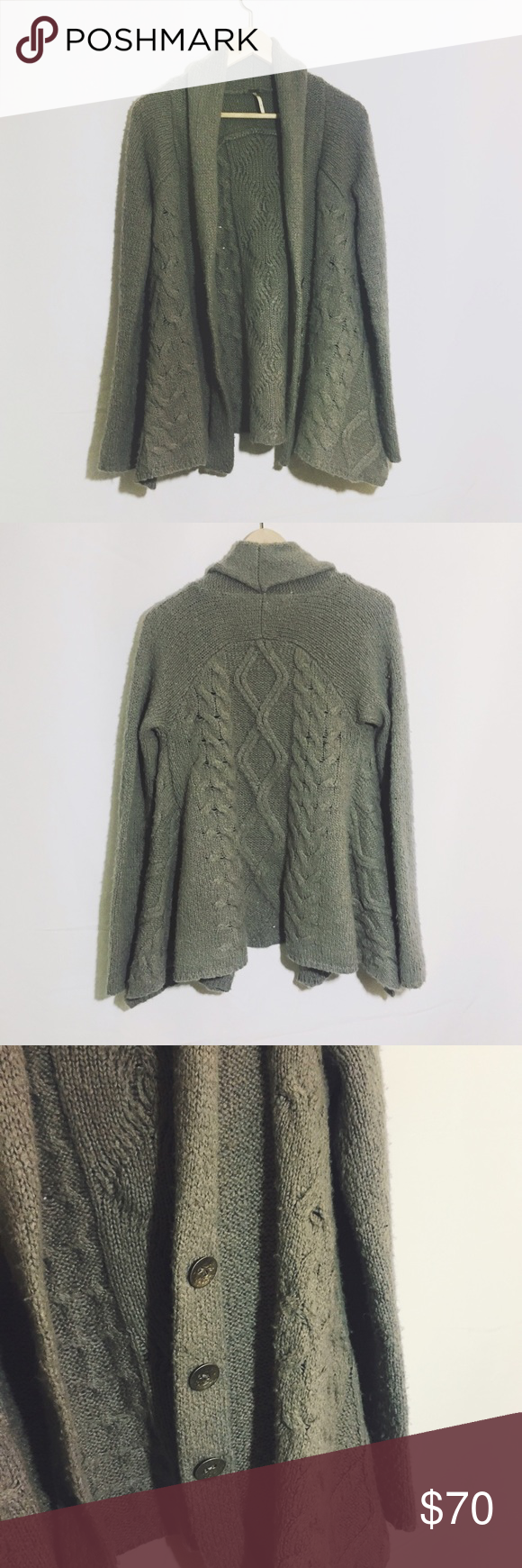 FREE PEOPLE grey knit chunky cardigan oversized Great condition. Gently loved. Perfect soft and warm and cozy Free People Sweaters Cardigans