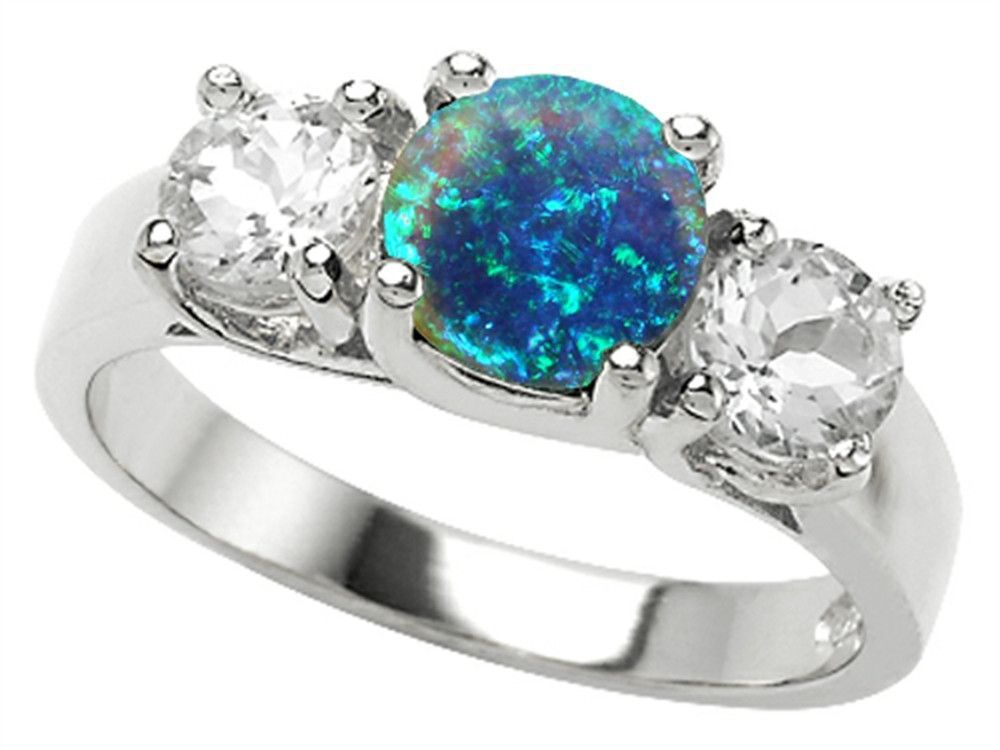 Star K 7mm Round Simulated Blue Opal Ring